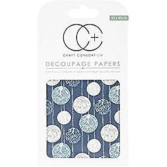 Craft Consortium Silver Baubles Decoupage Papers (CCXDECP044)