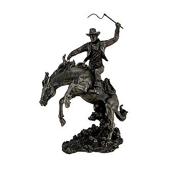 Bronzed Rodeo Cowboy and Bucking Bronco Statue 13 Inches Tall