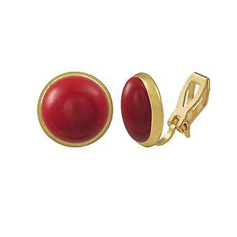 Eterna colección Sinfonía Stud oro Coral rojo Clip en pendientes