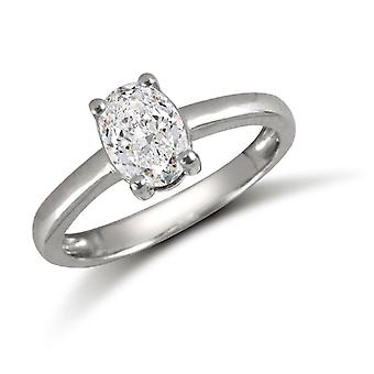 Jewelco London Ladies Solid 9ct White Gold White Oval Cubic Zirconia Solitaire Engagement Ring