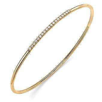ジュエルコ ロンドン 18ct ゴールド ダイヤモンド パヴェ エタニティ バングル ブレスレット 1.8mm