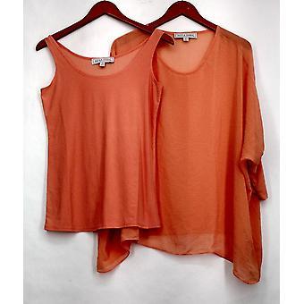 Paula Deen Top Caftan w/ Fitted Sleeves & Tank Set Orange Womens A425952