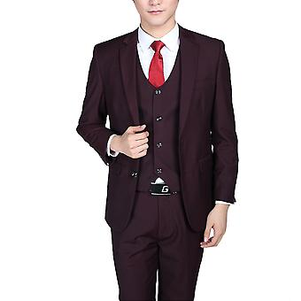 Allthemen mannen ' s 3-delige kostuums Solid Purple Business blazer & vest & broek