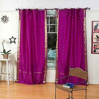 Cravatta rosso viola Top Sari pura tenda / drappo / pannello - pezzo