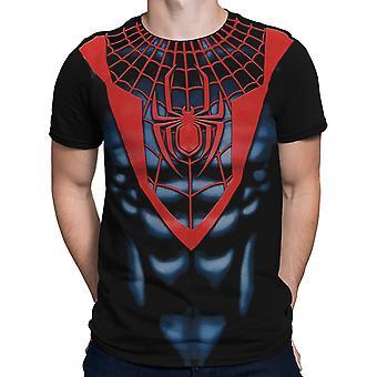Ultimate Spider-Man Czarny Czerwony Kostium T-Shirt