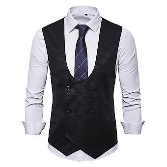 Allthemen Men's Double-Breasted U-Neck Four Seasons Casual Suit Vest