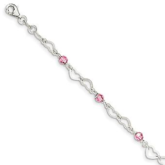 925 Sterling Silver Polished Love Hearts and Beads With 1in. Ext. Dangle Anklet 9 Inch Jewelry Gifts for Women