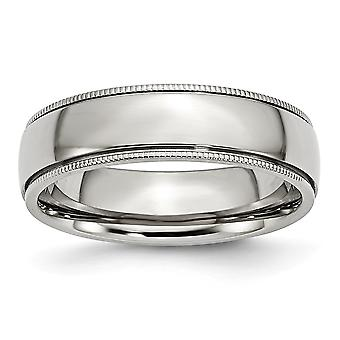 Stainless Steel Beaded Engravable Grooved and Bead Charmed 6mm Polished Band Ring - Ring Size: 6 to 13
