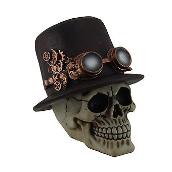 Sir Steam Human Skull Statue Wearing Mechanical Top Hat w/Steampunk Goggles
