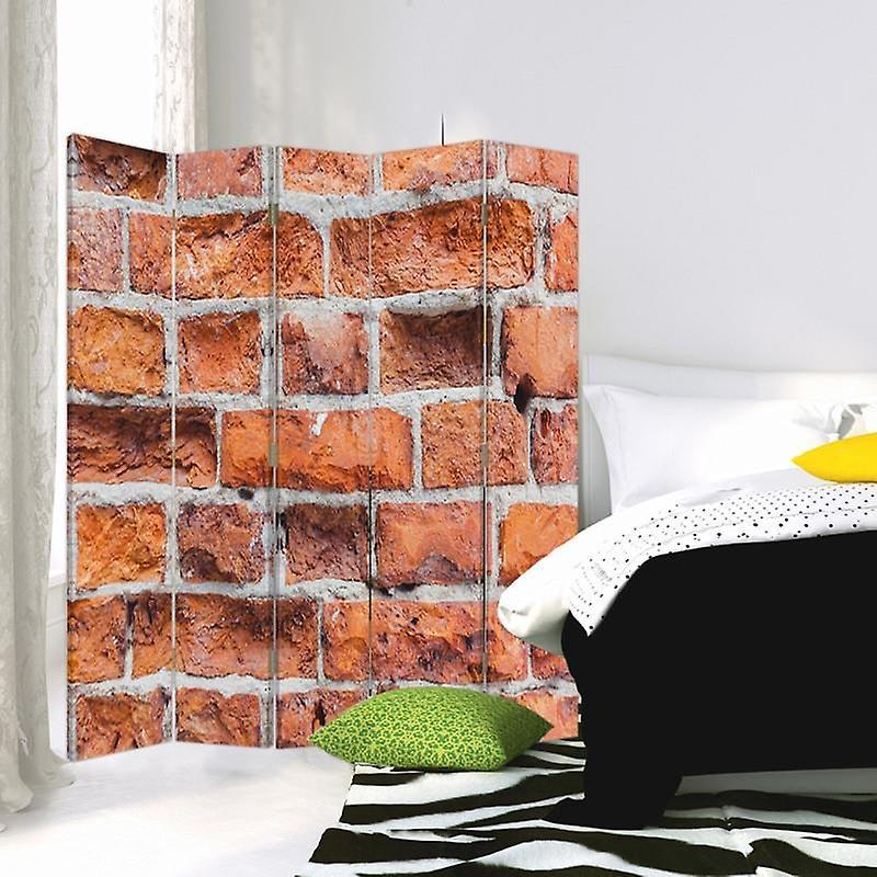Room Divider, 5 panneaux, Double-Sided, Rotatable 360 ?? Canvas, Briques murales 2