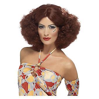 Womens 70s Afro peruk brun maskeraddräkter tillbehör