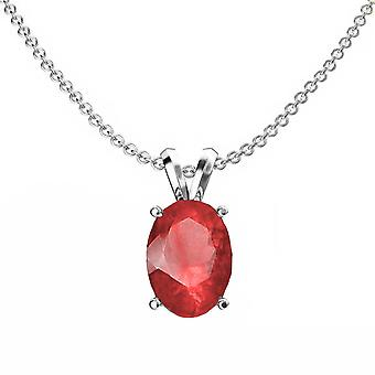 Dazzlingrock Collection 14K 8x6 mm Oval Cut Ruby Ladies Solitaire Pendant (Silver Chain Included), White Gold