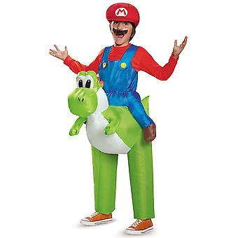 Mario Riding Yoshi gonflable Super Mario Bros jeu vidéo Garçons Costume Une Taille