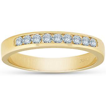 14k Yellow Gold 1/4ct Diamond Wedding Stackable Womens Ring