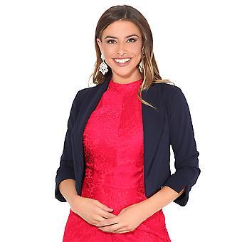 KRISP® Femmes 3/4 Sleeve Evening Shrug Crop Bolero Top Open Jacket Blazer Party Work