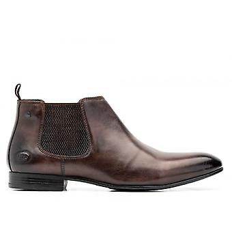 Base London Croft Washed Mens Leather Chelsea Boots Brown
