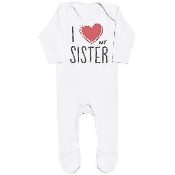 I Love My Sister Red Heart Baby Romper