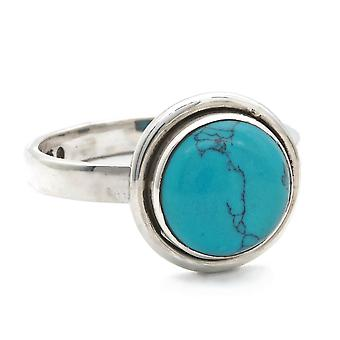 Ring Zilver 925 Sterling Zilver Turquoise Blue Green Stone (Nr: MRI 164)