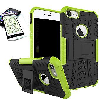 Hybride Etui 2 pièce vert pour Apple iPhone 8 et 7 4,7 pouces + trempé couvercle verre sac