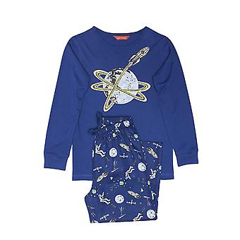 Minijammies 6465 Boy's Buzz Blue Space Print Cotton Woven Pyjama Set