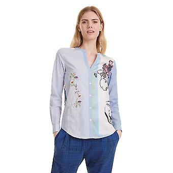 Desigual Women's Tena Stripe Lace Floral Mix Shirt