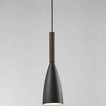 1 Light Slim Dome Ceiling Pendant Grey, Oiled Walnut 10cm