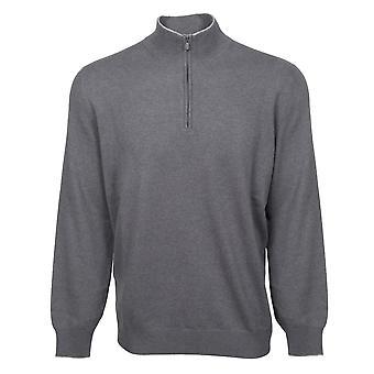 Brunello Cucinelli Lupetto Zip Cashmere Sweater in Gray