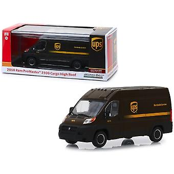 2018 Dodge Ram Promaster 2500 Cargo High Roof United Parcel Service (Ups) Worldwide Services Dark Brown 1/43 Diecast Model Car By Greenlight