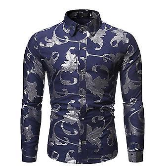 Allthemen الرجال & apos;ق قميص مطبوع فضي منقوشة طباعة طويلة الأكمام اللباس القمصان