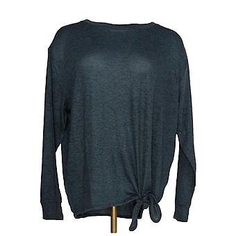 Anybody Women's Top Brushed Hacci Side Tie Tee Blue A297308