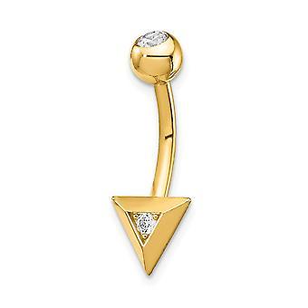 8,07 mm 14k Dreieck CZ Zirkonia simuliert Diamant Bauchring Schmuck Geschenke für Frauen