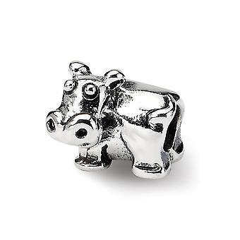925 Sterling Sølv poleret finish Reflections SimStars Kids Hippo Perle Charm Vedhæng halskæde smykker gaver til kvinder