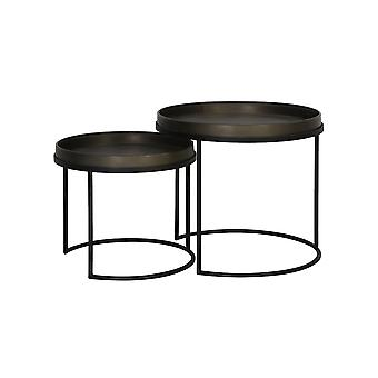 Light & Living Side Table Set Of 2 50x44.5 And 60x54.5cm Copan Tin Look