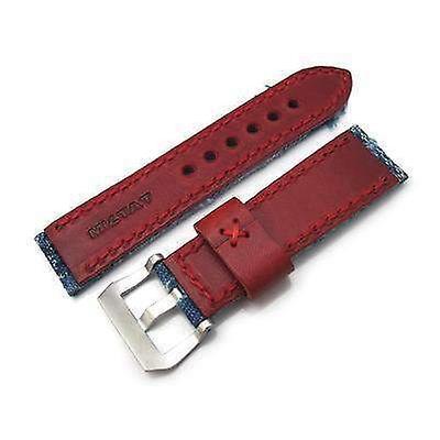 Strapcode fabric watch strap 24mm miltat zizz collection distressed denim watch strap red wax hand stitching