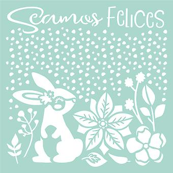 Stamperia Dicke Schablone 18x18cm Seamos Felices Kaninchen