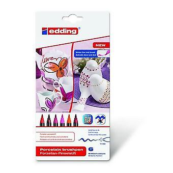 edding-4200 ass.porcelain brushpen warm 6PC 1-4 mm / 4-4200-6999