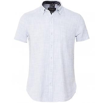 Guide London Textured Micro Pattern Short Sleeve Shirt