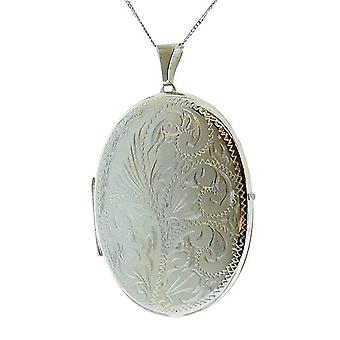 """TOC Sterling Silver 9gr 2 Photograph Engraved Oval 45mm Locket Necklace 18"""""""