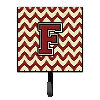 Letter F Chevron Maroon and Gold Leash or Key Holder