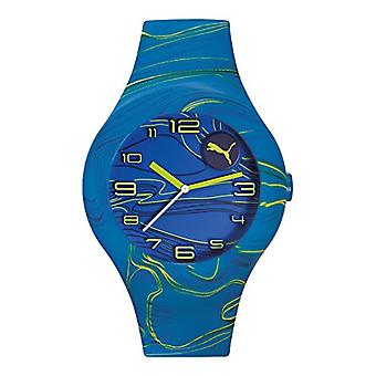 Cougar Time Form XL wrist watch, analog, Silicon band, blue (Blue Yellow Waves)