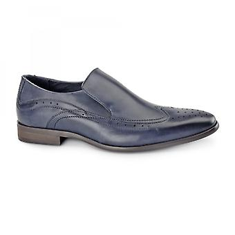 Azor Vicenza Mens Pelle Slip On Brogues Blue
