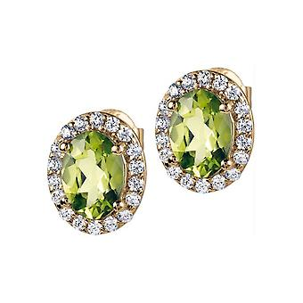 Jacques Lemans - Studs sterling silver plated with peridot - SE-O116F