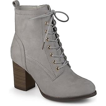 Journee Collection Womens Stacked Heel Lace-up Booties Grey, 10 Regular US
