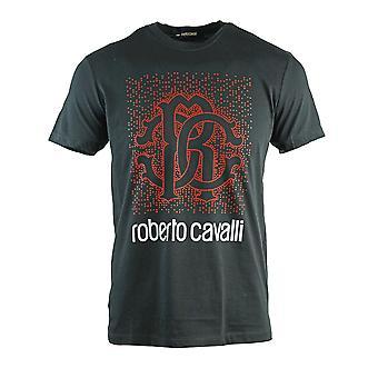 Roberto Cavalli gefleckt Logo Design schwarz T-Shirt