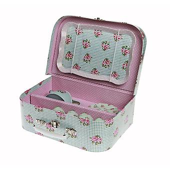 Blue Floral Rose Childrens Tea Party Picnic Box Tea Set