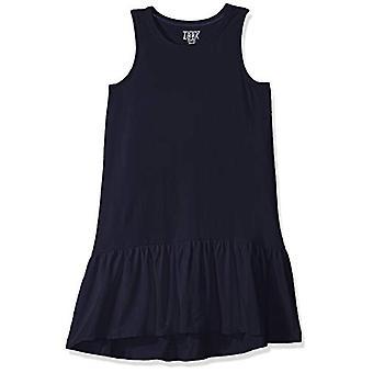 LOOK by Crewcuts Girls' Ruffle Hem Tank Dress, Navy, Small (6/7)