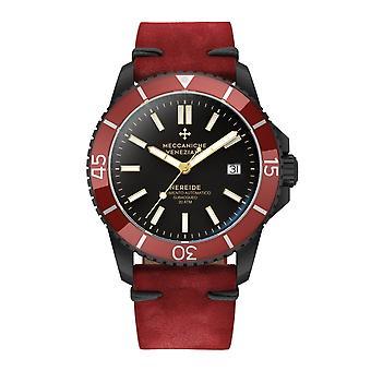 Meccaniche Veneziane 1302011 Nereide Black Case Red Bezel Automatic Wristwatch