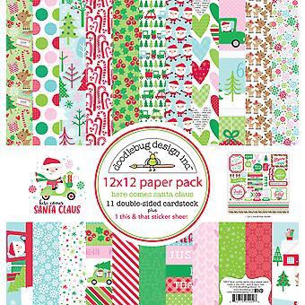 Doodlebug Design Aquí viene el paquete de papel Santa 12x12 pulgadas