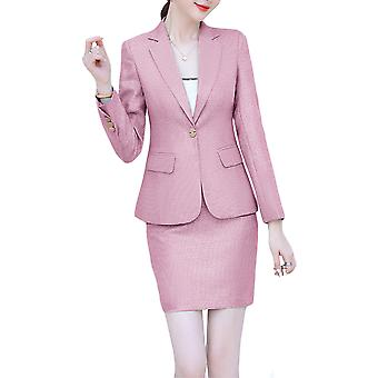 Women Ladies Slim Elegant Casual Striped Business Work Formal Two-piece Suit