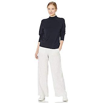 Marque - Daily Ritual Women's Fine Gauge Stretch Mockneck Pullover Sweater, Navy, Medium